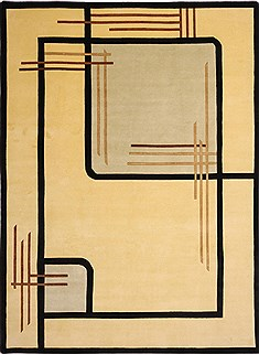 "Indo-Tibetan Yellow Hand Knotted 8'9"" X 11'10""  Area Rug 301-30855"