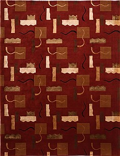 "Indo-Tibetan Red Hand Knotted 9'3"" X 12'1""  Area Rug 301-30861"