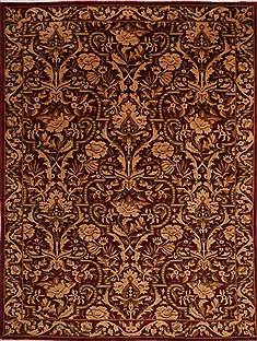 "Indo-Tibetan Red Hand Knotted 9'0"" X 11'10""  Area Rug 301-30866"
