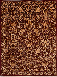 "Indo-Tibetan Red Hand Knotted 9'0"" X 11'8""  Area Rug 301-30869"