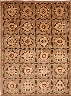 Indian Indo-Tibetan Beige Rectangle 8x11 ft Wool Carpet 30873