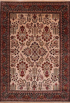 "Sarouk Beige Hand Knotted 9'9"" X 13'11""  Area Rug 301-30891"