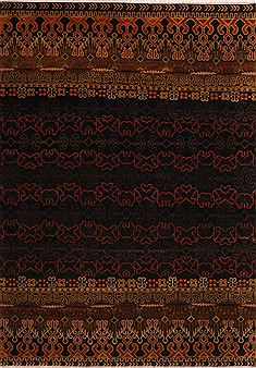 Indian Hamedan Black Rectangle 10x14 ft Wool Carpet 30922