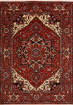 Indian Serapi Red Rectangle 10x14 ft Wool Carpet 30924