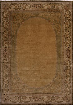 Indian French Country Green Rectangle 10x14 ft Wool Carpet 30934