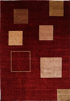 "Indo-Tibetan Red Hand Knotted 9'7"" X 13'9""  Area Rug 301-30937"