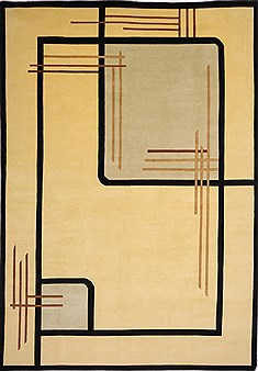 "Indo-Tibetan Yellow Hand Knotted 9'8"" X 13'9""  Area Rug 301-30938"