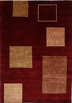 "Indo-Tibetan Red Hand Knotted 9'9"" X 13'11""  Area Rug 301-30941"