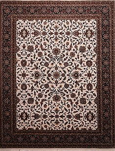 "Kashan Beige Hand Knotted 12'1"" X 15'0""  Area Rug 301-30955"