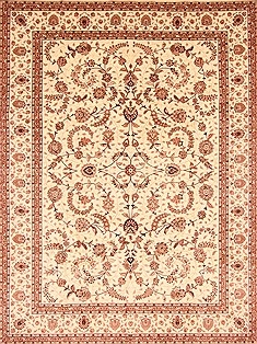 "Kashan Beige Hand Knotted 9'9"" X 13'9""  Area Rug 276-30965"