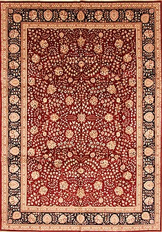 Chinese Tabriz Red Rectangle 10x14 ft Wool Carpet 30966