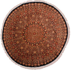 "Qum Brown Round Hand Knotted 6'6"" X 6'6""  Area Rug 254-32024"