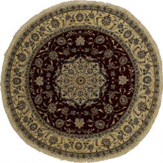 "Nain Beige Round Hand Knotted 5'0"" X 5'0""  Area Rug 254-32027"