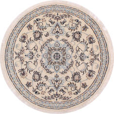 "Nain Beige Round Hand Knotted 3'3"" X 3'3""  Area Rug 254-32029"