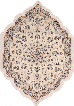 "Nain Beige Oval Hand Knotted 3'5"" X 5'0""  Area Rug 254-32032"