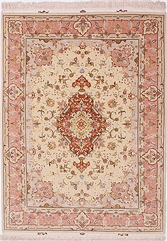Persian Tabriz Beige Rectangle 5x7 ft Wool Carpet 32041