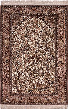 Persian Isfahan White Rectangle 5x8 ft Wool Carpet 32045