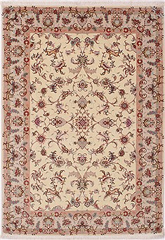 "Tabriz Beige Hand Knotted 4'5"" X 6'8""  Area Rug 254-32047"
