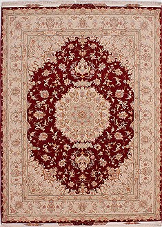 "Tabriz Beige Hand Knotted 5'0"" X 7'0""  Area Rug 254-32048"