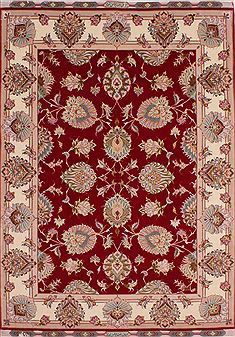 Persian Tabriz Red Rectangle 5x7 ft Wool Carpet 32053