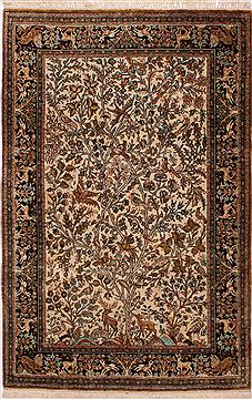 "Qum Beige Hand Knotted 3'6"" X 5'5""  Area Rug 254-32060"