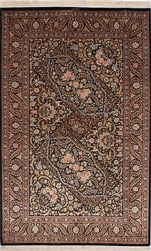"Qum Beige Hand Knotted 4'5"" X 6'11""  Area Rug 254-32083"