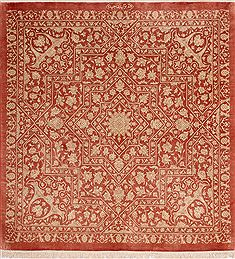"Qum Red Square Hand Knotted 3'3"" X 3'3""  Area Rug 254-49142"