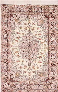 "Qum Beige Hand Knotted 3'4"" X 5'1""  Area Rug 254-49162"