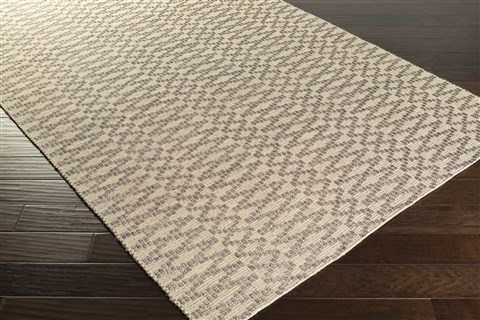 Surya Sonata Black Rectangle 5x8 Ft Cotton Carpet 59217