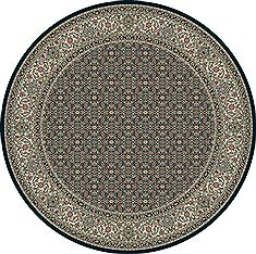 "Dynamic ANCIENT GARDEN Blue Round 5'3"" X 5'3"" Area Rug ANR5570113464 801-69138"