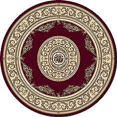 "Dynamic ANCIENT GARDEN Red Round 5'3"" X 5'3"" Area Rug ANR5572261363 801-69157"