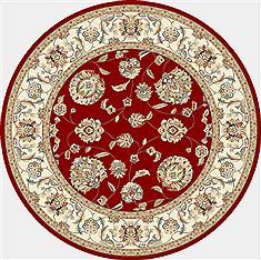 "Dynamic ANCIENT GARDEN Red Round 5'3"" X 5'3"" Area Rug ANR5573651464 801-69160"