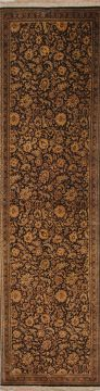 "Qum Black Runner Hand Knotted 2'2"" X 8'1""  Area Rug 254-72520"