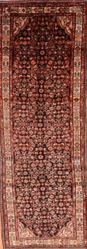 Persian Hamedan Black Runner 10 to 12 ft Wool Carpet 74464