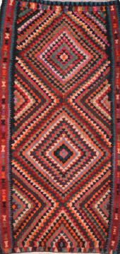 "Kilim Multicolor Runner Flat Woven 4'11"" X 10'3""  Area Rug 100-74651"