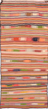 "Kilim Multicolor Runner Flat Woven 4'1"" X 10'6""  Area Rug 100-74683"