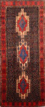 "Hamedan Red Runner Hand Knotted 5'0"" X 11'8""  Area Rug 100-74718"