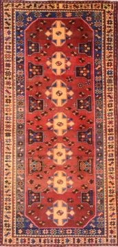 Persian Mussel Red Runner 6 to 9 ft Wool Carpet 74721