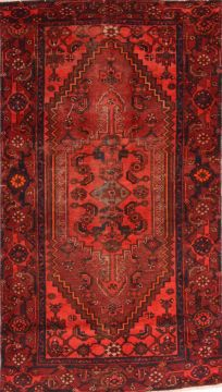 Persian Zanjan Red Rectangle 4x6 ft Wool Carpet 74758
