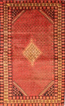 "Bakhtiar Red Hand Knotted 4'2"" X 6'9""  Area Rug 100-74760"