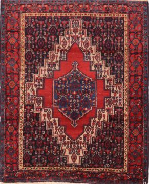 "Sanandaj Red Hand Knotted 4'0"" X 4'10""  Area Rug 100-74765"