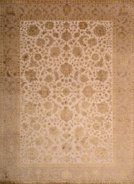 Indian Jaipur Beige Rectangle 9x12 ft wool and raised silk Carpet 74798