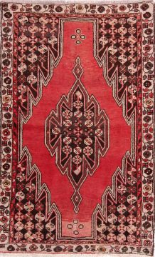 "Mazlaghan Red Hand Knotted 4'0"" X 6'4""  Area Rug 155-74840"