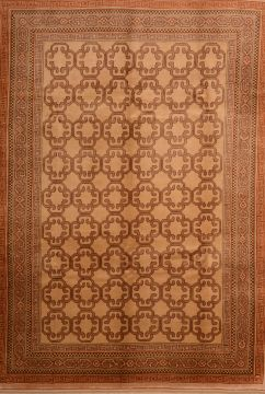 Romania Shiraz Brown Rectangle 7x9 ft Wool Carpet 74846