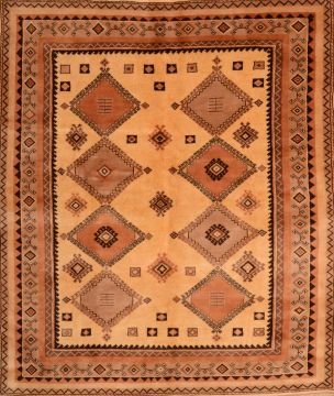 "Shiraz Brown Square Hand Knotted 6'8"" X 7'10""  Area Rug 100-74854"
