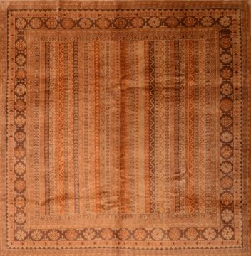 Romania Shiraz Brown Square 7 to 8 ft Wool Carpet 74855
