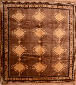 Romania Shiraz Brown Rectangle 8x11 ft Wool Carpet 74858