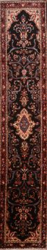 Persian Hamedan Black Runner 13 to 15 ft Wool Carpet 74876