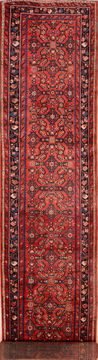 Persian Hossein Abad Red Runner 13 to 15 ft Wool Carpet 74892