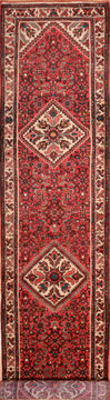 Persian Hamedan Red Runner 13 to 15 ft Wool Carpet 74894
